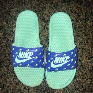 caefe58d1 Nike Shoes - Nike Slides Blue and green polka dot